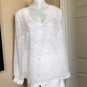 Sioni White Lace Overlay Blouse Size Large
